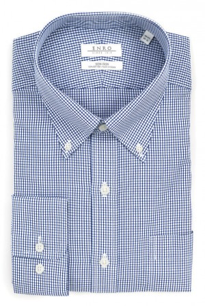 ENRO Essentials | Combs Navy Check Button Down Collar Dress Shirt