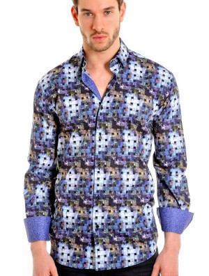 Mizumi Mulit-Abstract  Long Sleeve Sport Shirt (MF-458)