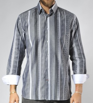 Luchiano Visconti Silver Patterned Stripe Long Sleeve Sport Shirt (3501)