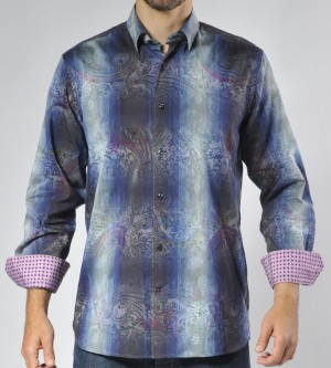 Luchiano Visconti Blue Stripe with Paisley Long Sleeve Sport Shirt (3504)