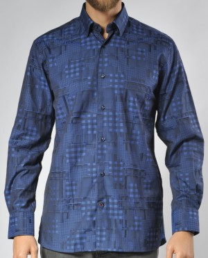 Luchiano Visconti Blue Square Abstract Long Sleeve Sport Shirt (3506)