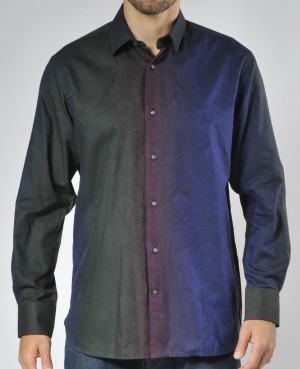 Luchiano Visconti Color Block Paisley Tone on Tone Long Sleeve Sport Shirt (3514)
