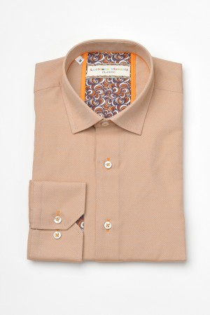 Luchiano Visconti Peach texture Long Sleeve Sport Shirt (3604)