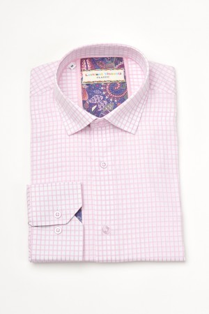 Luchiano Visconti Pink/White Check Long Sleeve Sport Shirt (3612)