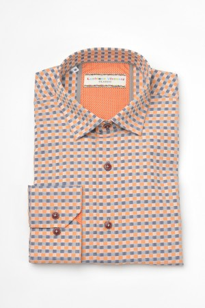 Luchiano Visconti Orange/Grey Check Long Sleeve Sport Shirt (3619)