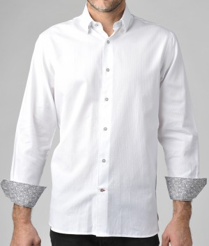 Luchiano Visconti White Tone on Tone Long Sleeve Sport Shirt (3643)