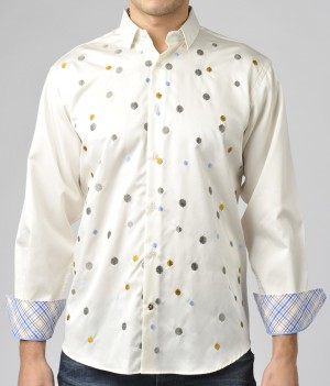 Luchiano Visconti White with Circle Embroidery Long Sleeve Sport Shirt (3652)