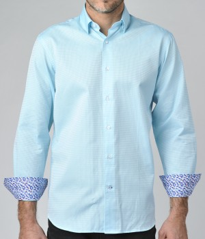 Luchiano Visconti Teal texture Long Sleeve Sport Shirt (3660)