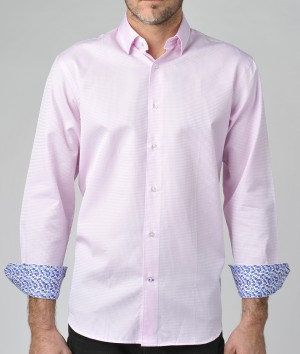 Luchiano Visconti Pink texture Long Sleeve Sport Shirt (3662)