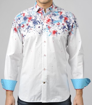 Luchiano Visconti White with Paint Splotch Long Sleeve Sport Shirt (3670)