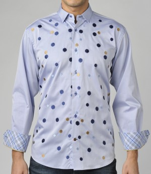 Luchiano Visconti Blue with Circle Embroidery Long Sleeve Sport Shirt (3674)