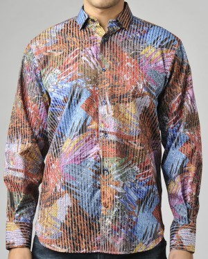 Luchiano Visconti Multi-color Abstract Long Sleeve Sport Shirt (3687)