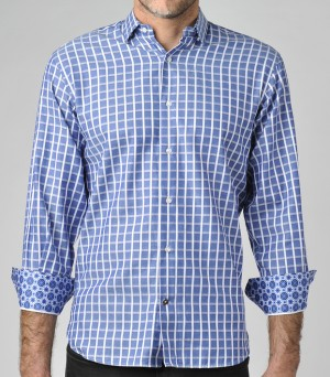 Luchiano Visconti Blue/White Check Long Sleeve Sport Shirt (3691)