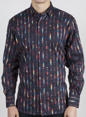 Luchiano Visconti Black with Multi-colored Stripes Long Sleeve Sport Shirt (37114)