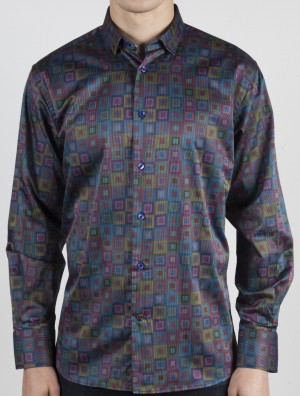 Luchiano Visconti Multi-Colored Cubes Long Sleeve Sport Shirt (37115)