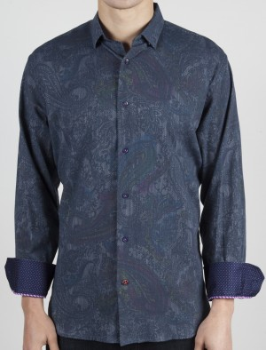 Luchiano Visconti Navy Paisley Pattern Long Sleeve Sport Shirt (37117)