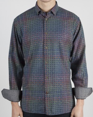 Luchiano Visconti Multi Check Long Sleeve Sport Shirt (37134)