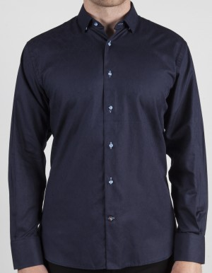 Luchiano Visconti Navy Tone on Tone Long Sleeve Sport Shirt (37138)