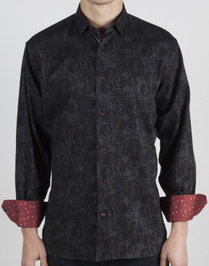 Luchiano Visconti Black Circle Circle Abstract Long Sleeve Sport Shirt (37141)