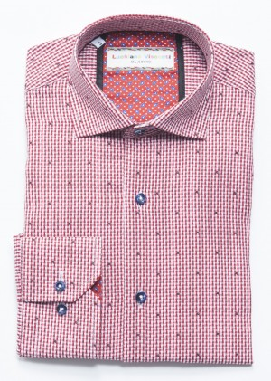 Luchiano Visconti Red Pattern Long Sleeve Sport Shirt (3716)