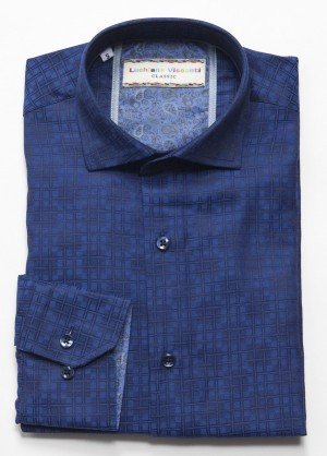 Luchiano Visconti Blue Squares Long Sleeve Sport Shirt (3718)