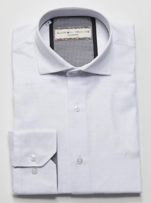 Luchiano Visconti White Tone on Tone Long Sleeve Sport Shirt (3724)