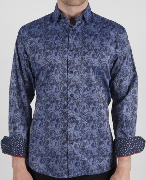 Luchiano Visconti Blue Circle Circle Abstract Long Sleeve Sport Shirt (3764)