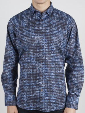Luchiano Visconti Blue Abstract Long Sleeve Sport Shirt (3766)
