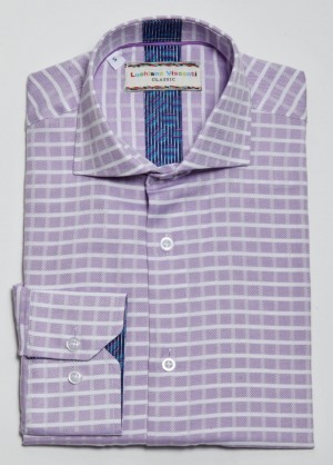 Luchiano Visconti Lavender Plaid Long Sleeve Sport Shirt (3811)