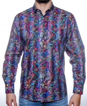 Luchiano Visconti Musical and Colorful Pyschadelic Long Sleeve Sport Shirt (3820)