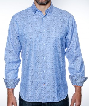 Luchiano Visconti Blue Plaid Tonal Long Sleeve Sport Shirt (3840)