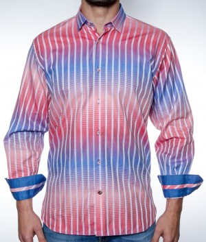 Luchiano Visconti Red/White & Blue Hombre Stripe  Long Sleeve Sport Shirt (3843)