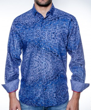 Luchiano Visconti Blue Abstract Long Sleeve Sport Shirt (3853)