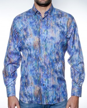 Luchiano Visconti Blue Tonal Small Oval Pattern Long Sleeve Sport Shirt (3855)