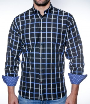 Luchiano Visconti Navy Plaid Long Sleeve Sport Shirt (3885)