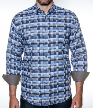 Luchiano Visconti Blue Tetris Pattern Long Sleeve Sport Shirt (38N65)