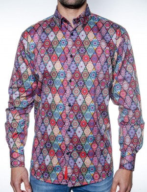 Luchiano Visconti Diamond Multi Color Pattern Long Sleeve Sport Shirt (38N87)