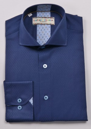 Luchiano Visconti Blue Tone on Tone Long Sleeve Sport Shirt (3903)