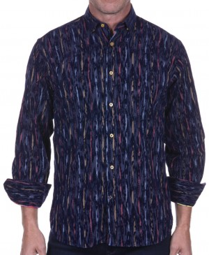 Luchiano Visconti Navy Abstract Long Sleeve Sport Shirt (39120)