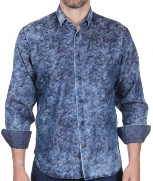 Luchiano Visconti Multi-Blue Abstract Long Sleeve Sport Shirt (39150)