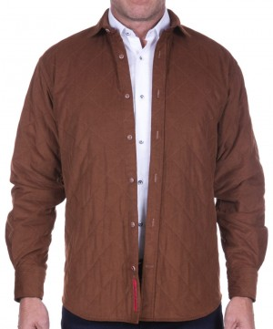 Luchiano Visconti Brown Long Sleeve Sport Shirt/Jacket Quilted (Shacket) (39153)
