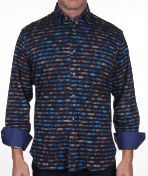 Luchiano Visconti Navy Horizontal Stripe with Abstract Long Sleeve Sport Shirt (3930)
