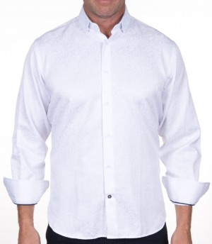 Luchiano Visconti White with Tone on Tone Long Sleeve Sport Shirt (3945)