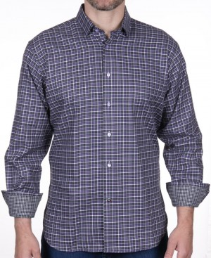 Luchiano Visconti Lavender/Gray Check Long Sleeve Sport Shirt (3958)