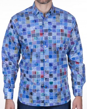 Luchiano Visconti Blue Abstract Squares Long Sleeve Sport Shirt (3966)