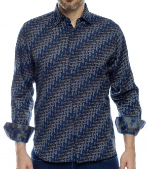 Luchiano Visconti Blue-Tan Daigonal Stripe Long Sleeve Sport Shirt (40106)