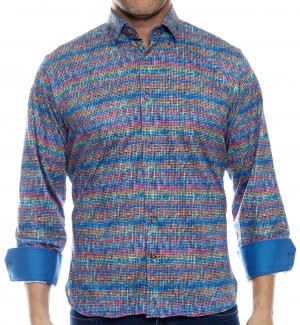 Luchiano Visconti Blue Multi Color Long Sleeve Sport Shirt (40112)
