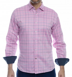 Luchiano Visconti Pink Long Sleeve Sport Shirt (4035)