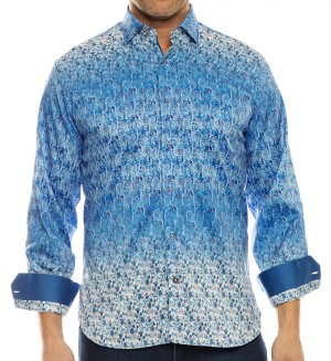 Luchiano Visconti Blue Multi Color Long Sleeve Sport Shirt (4053)