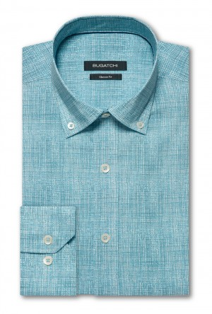 Bugatchi Teal with White Heather Long Sleeve Sport Shirt Shaped Fit (JS4425E13S)